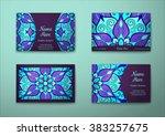 vector vintage visiting card... | Shutterstock .eps vector #383257675