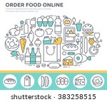 grocery shopping and food... | Shutterstock .eps vector #383258515