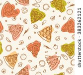 seamless outline drawing pizza... | Shutterstock .eps vector #383262121