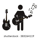 stick figure guitar vector.... | Shutterstock .eps vector #383264119