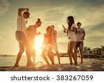 friends funny dance on the... | Shutterstock . vector #383267059