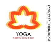 lotus flower yoga symbol... | Shutterstock .eps vector #383270125