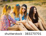 girlfriends have fun and drink... | Shutterstock . vector #383270701