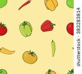 vegetables seamless pattern... | Shutterstock .eps vector #383283814