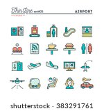 airport  luggage scanning ... | Shutterstock .eps vector #383291761