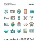 travel  flight  accommodation ... | Shutterstock .eps vector #383292667