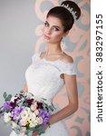 beautiful bride portrait... | Shutterstock . vector #383297155
