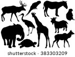 Stock vector vector set of animal silhouettes elk deer parrot cockatoo horse pony zebra ground squirrel 383303209