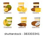 nuts butter types. healthy... | Shutterstock .eps vector #383303341