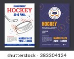 ice hockey championship poster. ... | Shutterstock .eps vector #383304124