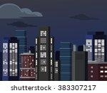night cityscape. vector flat... | Shutterstock .eps vector #383307217