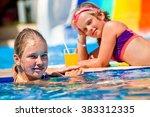 children sisters on water slide ... | Shutterstock . vector #383312335