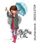 cute girl with umbrella   Shutterstock . vector #383313709