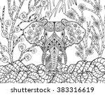 zentangle stylized elephant in... | Shutterstock .eps vector #383316619