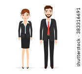 businessman and business woman... | Shutterstock .eps vector #383316691