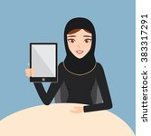 arab woman show a tablet on... | Shutterstock .eps vector #383317291