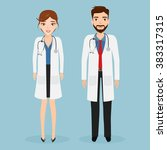 woman doctor and man doctor... | Shutterstock .eps vector #383317315