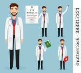 set of doctor character at...   Shutterstock .eps vector #383317321