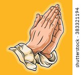 prayer hand. vector illustration | Shutterstock .eps vector #383321194