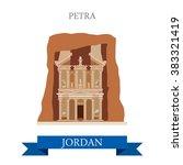 petra in jordan. flat cartoon... | Shutterstock .eps vector #383321419