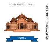akshardham hindu temple in new... | Shutterstock .eps vector #383321434
