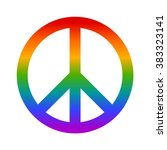 rainbow peace sign flat vector...