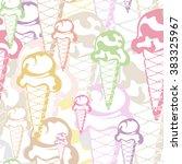 ice cream seamless background   Shutterstock . vector #383325967
