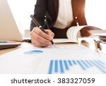 fund manager analyzing... | Shutterstock . vector #383327059