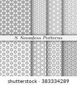 set of 8 seamless islamic... | Shutterstock .eps vector #383334289