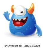 cute cartoon monster waving...
