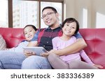 portrait of a young father and... | Shutterstock . vector #383336389