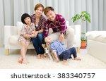 indoor portrait of asian family ... | Shutterstock . vector #383340757