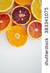 ruby red blood oranges  navel... | Shutterstock . vector #383341075