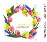 wreath of spring flowers   ... | Shutterstock .eps vector #383342617