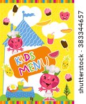kids menu template design cover ... | Shutterstock .eps vector #383344657