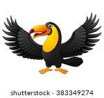 cartoon funny toucan isolated... | Shutterstock .eps vector #383349274