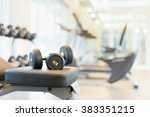 two dumbbells on the exercise... | Shutterstock . vector #383351215