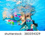 two little girls played under... | Shutterstock . vector #383354329
