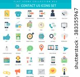 vector contact us color flat... | Shutterstock .eps vector #383355967