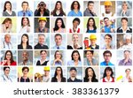business people workers faces... | Shutterstock . vector #383361379
