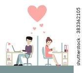 work romance between two... | Shutterstock .eps vector #383362105
