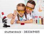 young teacher with little...   Shutterstock . vector #383369485