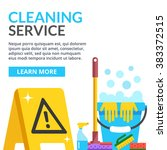 cleaning service flat... | Shutterstock .eps vector #383372515