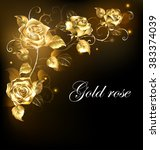 Stock vector twisted gold roses on a black background gold rose 383374039