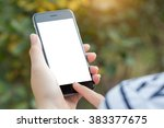 close up hand using phone white ... | Shutterstock . vector #383377675