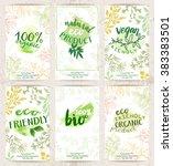 vector set of eco friendly food ... | Shutterstock .eps vector #383383501