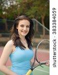 woman tennis player practice in ... | Shutterstock . vector #383384059