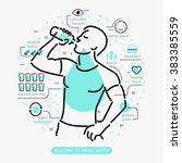 Concept of The Benefits of Drinking Water. Man drinking water.  | Shutterstock vector #383385559