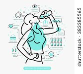 Concept of The Benefits of Drinking Water. Woman drinking water.  | Shutterstock vector #383385565