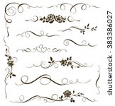 Vector set of floral calligraphic elements, dividers and rose ornaments for page decoration and frame design. Decorative silhouette for wedding cards and invitations. Vintage flowers and leaves